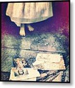 Girl In Abandoned Room Metal Print by Jill Battaglia