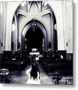 Girl In The Church Metal Print by Jenny Rainbow