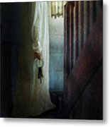 Girl On Stairs With Lantern And Keys Metal Print by Jill Battaglia