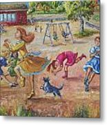 Girls Playing Horse Metal Print by Dawn Senior-Trask