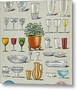 Glassware, Historical Artwork Metal Print by Mid-manhattan Picture Collectionglassnew York Public Library