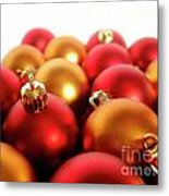 Gold And Red Xmas Balls Metal Print by Carlos Caetano