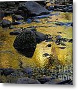 Golden Fall Reflection Metal Print by Heather Kirk