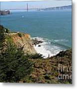 Golden Gate Bridge Viewed From The Marin Headlands Metal Print by Wingsdomain Art and Photography