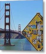 Golden Gate Stickers Metal Print by Cedric Darrigrand