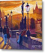 Golden Prague Charles Bridge Sunset Metal Print by Yuriy  Shevchuk