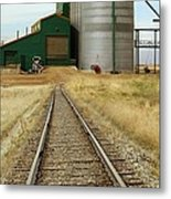 Grain Silos And Railway Track Metal Print by Tony Craddock