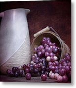 Grapes With Pitcher Still Life Metal Print by Tom Mc Nemar