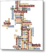 Great Britain Uk County Text Map Metal Print by Michael Tompsett