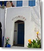 Greek Doorway Metal Print by Jane Rix