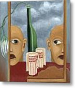 Green Bottle Agony Surrealistic Artwork With Crying Heads Cut Cups Flowing Red Wine Or Blood Frame   Metal Print by Rachel Hershkovitz