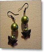 Green Butterfly Earrings Metal Print by Jenna Green
