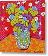 Green Daisy Bouquet Metal Print by Blenda Studio