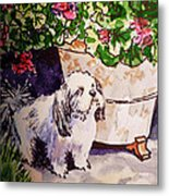 Guarding Geranium Sketchbook Project Down My Street Metal Print by Irina Sztukowski