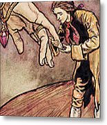 Gulliver In Brobdingnag Kissing The Hand Of The Queen Metal Print by Arthur Rackham