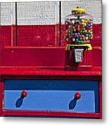 Gum Ball Machine On Red Desk Metal Print by Garry Gay