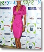 Halle Berry Wearing A Dress By Roberto Metal Print by Everett