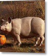 Halloween Pig Metal Print by Daniel Eskridge