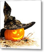 Halloween Pumpkin With Witches Hat Metal Print by Amanda Elwell