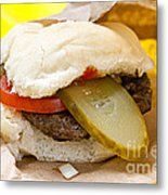 Hamburger With Pickle And Tomato Metal Print by Elena Elisseeva