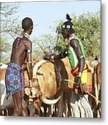 Hamer Tribe Jumping Of The Bulls Ceremony Metal Print by Photostock-israel
