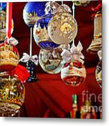 Handcrafted Mouth Blown Christmas Glass Balls Metal Print by Christine Till