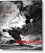 Happy Holidays . Winter Migration . Bw Metal Print by Wingsdomain Art and Photography