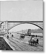 Harlem River Speedway Scene Beneath The George Washington Bridge Metal Print by International  Images