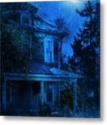 Haunted House Full Moon Metal Print by Jill Battaglia