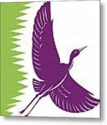 Heron Crane Flying Retro Metal Print by Aloysius Patrimonio