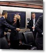 Hillary Clinton Joyfully Congratulates Metal Print by Everett