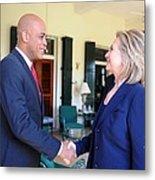 Hillary Clinton Meets With Haitian Metal Print by Everett