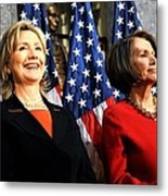 Hillary Clinton Stands With Speaker Metal Print by Everett