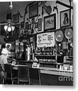 Historic Niles District In California Near Fremont . Bronco Billys Pizza Palace . 7d10707 . Bw Metal Print by Wingsdomain Art and Photography