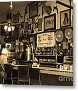 Historic Niles District In California Near Fremont . Bronco Billys Pizza Palace . 7d10707 . Sepia Metal Print by Wingsdomain Art and Photography