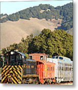 Historic Niles Trains In California . Old Southern Pacific Locomotive And Sante Fe Caboose . 7d10819 Metal Print by Wingsdomain Art and Photography