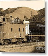 Historic Niles Trains In California.southern Pacific Locomotive And Sante Fe Caboose.7d10843.sepia Metal Print by Wingsdomain Art and Photography