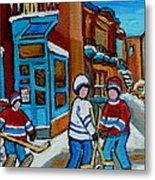Hockey Game Corner Clark And Fairmount Wilenskys Paintings Metal Print by Carole Spandau