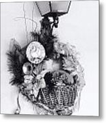Holiday Basket On Lamp Bw Metal Print by Linda Phelps