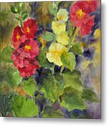 Hollyhocks Metal Print by Karin  Leonard