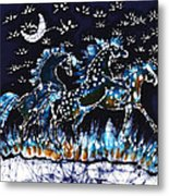 Horses Frolic On A Starlit Night Metal Print by Carol Law Conklin
