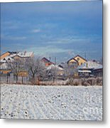 Houses In Winter Metal Print by Gabriela Insuratelu