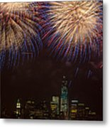 Hudson River Fireworks Xi Metal Print by Clarence Holmes