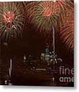 Hudson River Fireworks Xii Metal Print by Clarence Holmes
