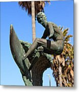 Huntington Beach Surfer Statue Metal Print by Paul Velgos