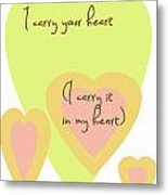 I Carry Your Heart I Carry It In My Heart - Yellow And Peach Metal Print by Georgia Fowler