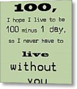 If You Live To Be 100 - Green Metal Print by Georgia Fowler