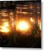 Illuminated Mason Jars Metal Print by Christy Beal