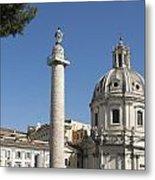 Imperial Fora With The Trajan's Column And The Church Santissimo Nome Di Maria.  Rome Metal Print by Bernard Jaubert