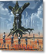 In An Alternate Reality Cyborgs Pay Metal Print by Mark Stevenson